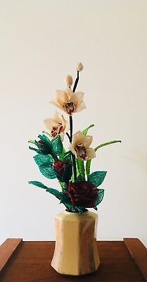 French beaded flowers ( Orchid / Roses Arrangement)