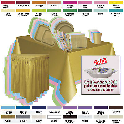Disposable Solid Color Party Tableware - Buy 10 Packs Get FREE Fancy Plate/Bowls