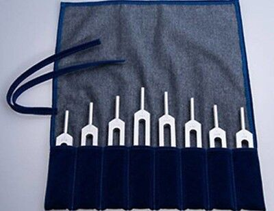 Healing Tuning Forks Harmonic Spectrum Set of 8. Pythagorean Scale with pouch!