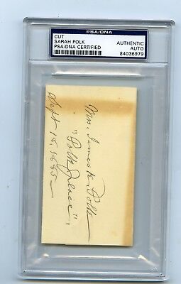Sarah Polk First Lady James K President Cut Autographed Card PSA/DNA Authentic