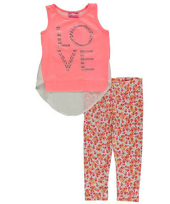 """Girls Luv Pink Little Girls' """"Beaded Love - Floral Leggings"""" 2-Piece Outfit"""