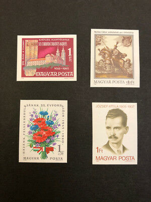 Hungary Scott No. 2638,2639,2645,2646 MNH Imperforate Imperf Imp Stamps of 1980