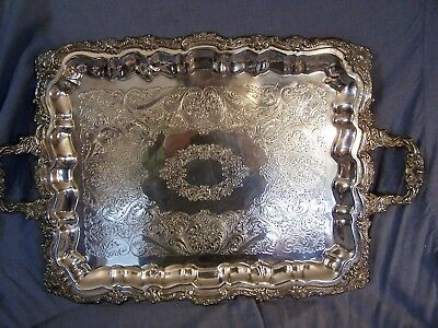 Antique SILVERPLATE LARGE Footed Handled Serving Tray Repousse Sheridan c1870