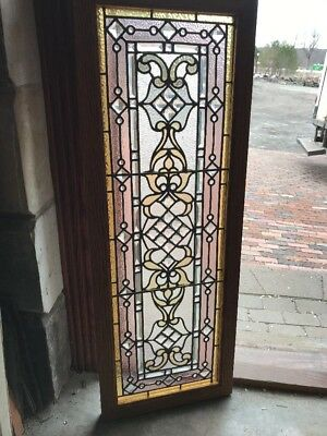 Sg 2071 Collector Quality Antique Jeweled Landing Window 17.5 X 47.5 Restored