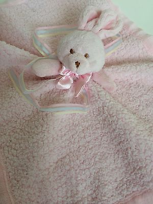 Blankets And Beyond Pink Bunny Rabbit  Lovey Security Blanket NUNU Satin Sherpa