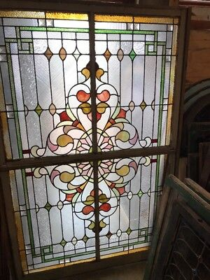 SG 2073 antique jeweled Stainglass landing window double hung 47 x 72.5
