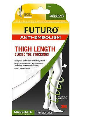 FUTURO Anti-Embolism Stockings, Thigh Length, Closed Toe, Large, White