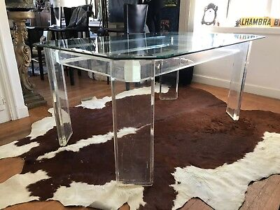 70s Modern Sculptural Peg Leg Design Lucite & Beveled Glass Top Dining Table
