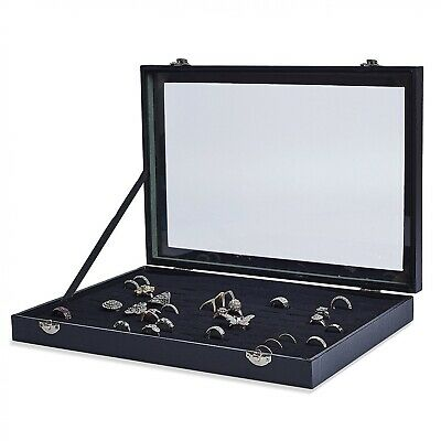 AKORD 100 Ring Velvet Jewellery Display Box Storage Tray Case Holder Stand Organ