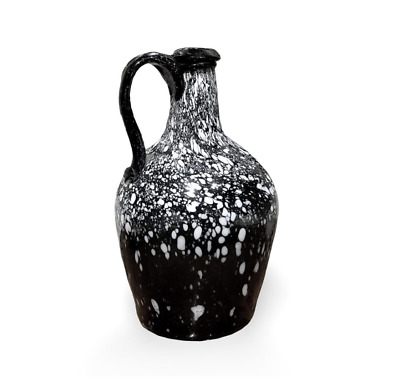 18th Century Nailsea Black and White Spotted Glass Jug