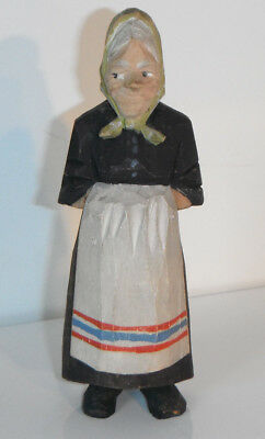 Vintage ANRI Lady Wood Carving WOMAN HOUSEWIFE WITH PINAFORE Figurine