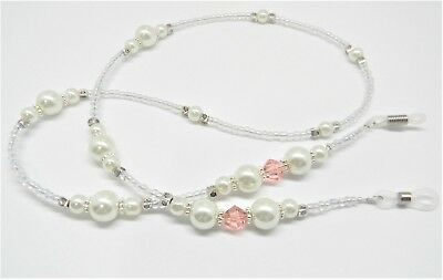 White Pearls, Crystals, Eyeglass Chain, Glasses Holder, Leash, Necklace, Holder