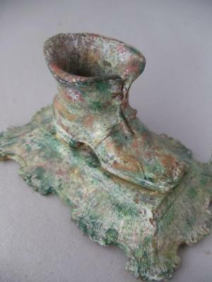 ANTIQUE FRENCH SHABBY VTG CHIC CAST IRON SHOE BOOT TOOTHPICK or MATCH HOLDER?