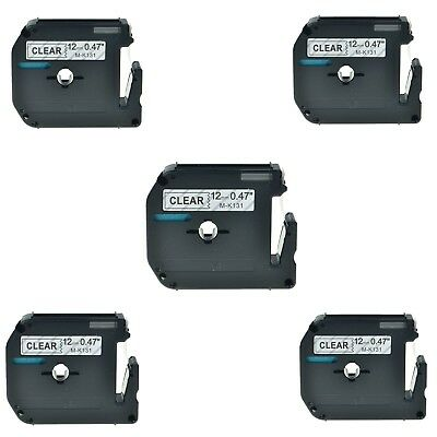 """5PK MK131 Black on Clear M-K131 Label Tape for Brother P-Touch PT-65 12mm 1/2"""""""