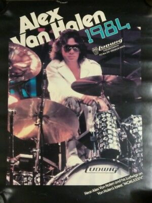 ALEX VAN HALEN / LUDWIG PROMOTIONAL ADVERTISING POSTER - 17x22 - VINTAGE