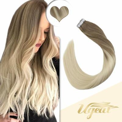 Balayage Tape in Human Hair Extensions Brown to Blonde Ombre Seamelss Skin Weft