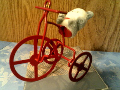 Vtg Avon Teddy Bear Ornament Collection-Teddy On Tricycle-New In Box-Free Ship