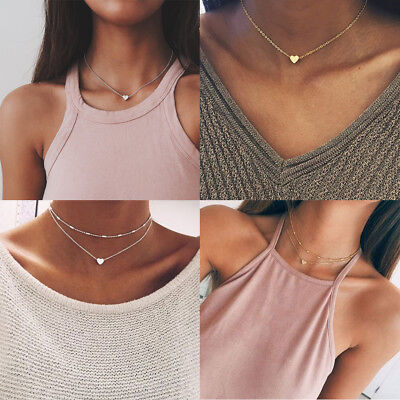 US STOCK 925Silver Gold Heart Choker Chunky Chain Necklace Women Jewelry Pendant
