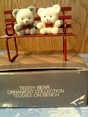 Vtg Avon Teddy Bear Ornament Collection-Teddy On Bench-New In Box-Free Shipping