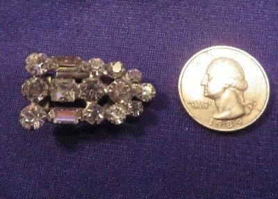 """Vintage Silver Tone Metal Scarf Clip With Faux Diamonds 1.5"""" Long"""