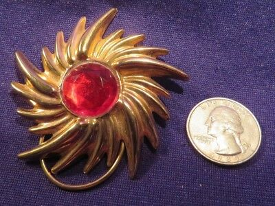 "Vintage Gold Tone Sunburst Shape Scarf Clip With Faceted Red Stone 2.5"" Diameter"