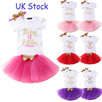 UK Baby Girl Birthday Dress Rompers Kid Tutu Skirt Headband Outfit Clothes 1T 2T