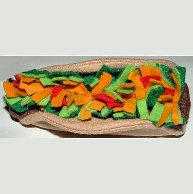 felt play food or bowl filler 1 complete BEEF TACO 3 pieces with shaped shell