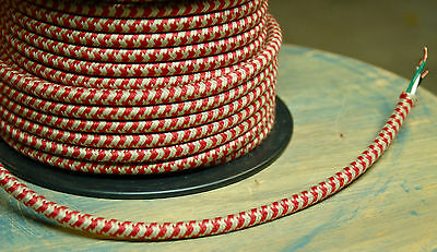 Red/Tan Hounds-Tooth Cloth Covered 3-Wire Round Cord, Retro Style Lighting, USA