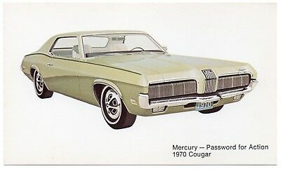 1970 Mercury COUGAR Standard 2-Door Dealer Promotional Postcard UNUSED VG+/Ex