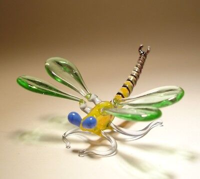 Blown Glass Art Insect Figurine Small Green and Yellow DRAGONFLY