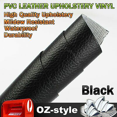 2M x 1.4M Black PVC Foil Leather Cloth Vinyl Upholstery Fabric Material Home Car