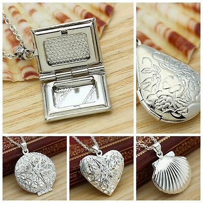 Chic 925 Silver Filled Picture Locket Hollow Heart Pendant Necklace Openable