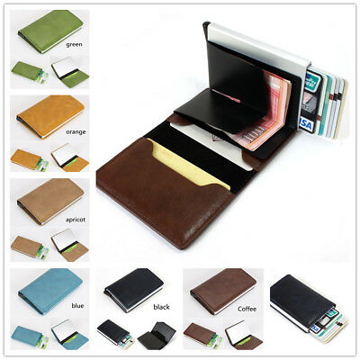 Fashion Leather Business Credit Card Holder Money cash Wallet Clip RFID Blocking