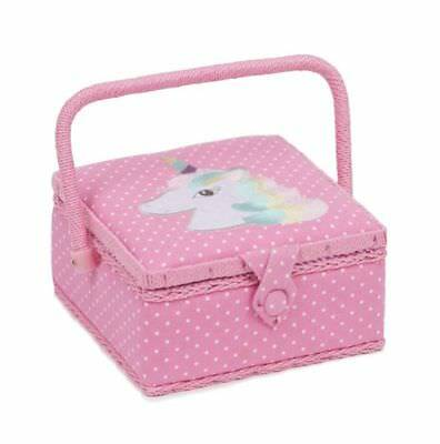 Unicorn Pink Polka Dot Square Sewing Basket Box Casket - Hobbygift 19.5cm