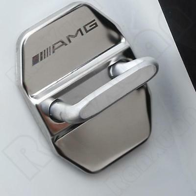 4PCS AMG Logo Car Door Striker Cover Stainless Steel Cap silver For Benz Series