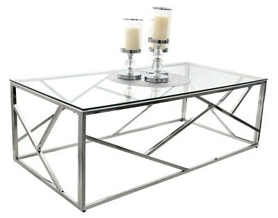 Ct020 Ct021 Table Basse Glamour Verre Acier Chrome Table Design Moderne Tutumi
