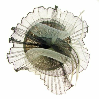 Prague Pleated Crin Fascinator on Band in Black/Ivory (e7201blk)