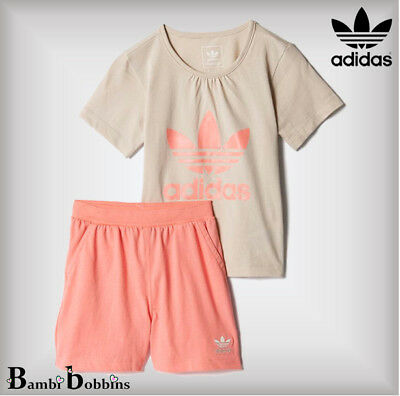 Adidas Originals Baby Girl Outfit Trefoil Set T-Shirt Shorts Age 0-3-9-12 Months
