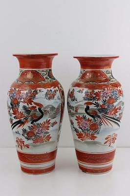 Antique Signed Japanese Kutani Tsukuru Meiji Period Pair Large Vases 31cm High