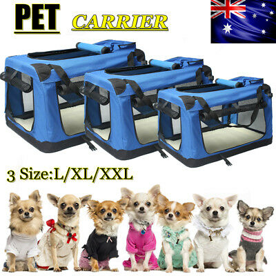 3 Size Pet Soft Crate Portable Dog Cat Carrier Travel Cage Kennel Foldable Large