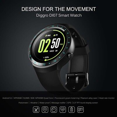 Diggro DI07 Android Smart Watch MTK6580 1.1GHz Support 3G Wifi Nano SIM GPS