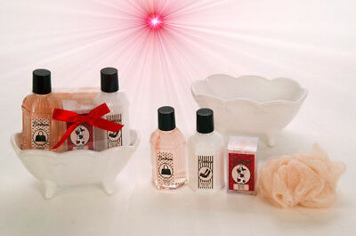 Wellness Geschenkset Muttertag Badeset Beauty Set Box Keramik Badewanne Rose
