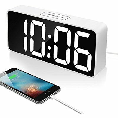 "9"" Clock Radios Large LED Digital Alarm With USB Port For Phone Charger, Snooze"