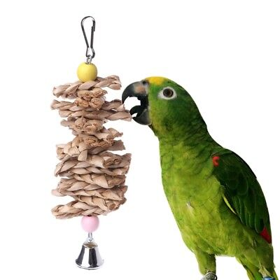 Parrot Bird Toys Natural Wooden Grass Chewing Bite Cage Hanging Bell Swing Climb
