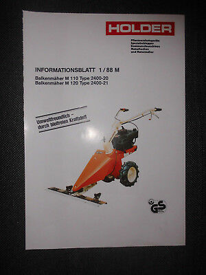Informationsblatt1/88 M Balkenmäher M 110 Type 2400-20 M 120 Type 2400-21 Holder