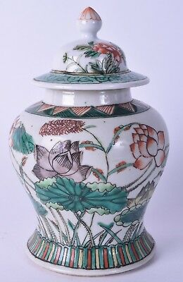 late 19th century famille verte chinese porcelain vase & cover jar kangxi style