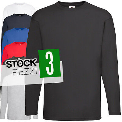 Pacco 3 Magliette Da Lavoro Stock T-Shirt Manica Lunga Fruit of The Loom VW