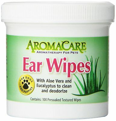Ear Care Cleaner Aromacare 100 Pads Dog Ear Wet Wipes Dogs Puppies Pet Aloe Vera