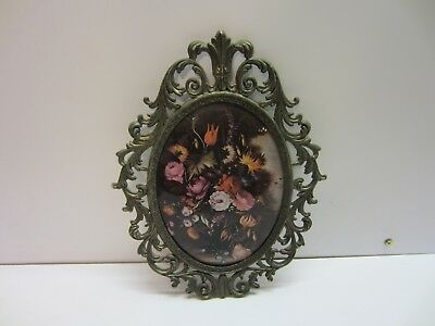Vtg Victorian Convex Oval Ornate Metal Framed Floral Wall Art Hanging Italy