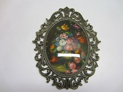 Vtg Victorian Convex Oval Ornate Metal Framed Floral Wall Art Hanging Italy YL